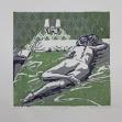 Gruenes Bett | Linoldruck | 2012